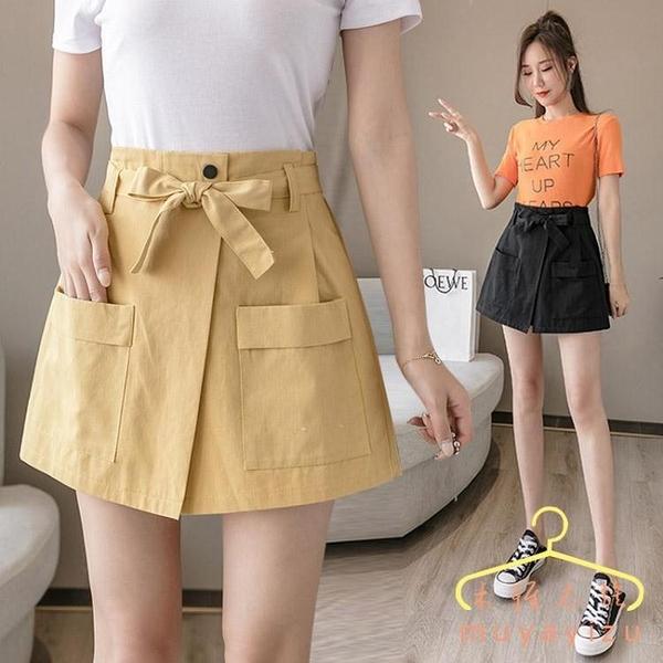降價兩天 短褲女夏高腰時尚2020不規則寬鬆外穿顯瘦a字褲裙女假兩件薄