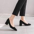 低跟鞋 新款黑色高跟鞋粗跟職業3cm5cm百搭中跟低跟工作女單鞋