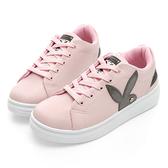 PLAYBOY 美式潮流 線條綁帶休閒鞋-粉(Y5213)