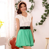 9505-JK清新優雅撞色V領短袖棉質夏季洋裝(送腰帶)共三色~美之札~零碼出清不退