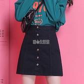 牛仔裙半身裙女夏季2021新款高腰顯瘦百搭a字裙包臀裙褲黑色短裙 快速出貨 快速出貨