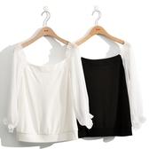 早秋上市[H2O]雪紡拼接可露肩六分泡袖針織上衣 - 黑/白色 #0631005