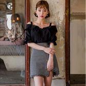 春裝新款韓版一字肩雪紡衫襯衫寬鬆短袖露肩吊帶女上衣夏季     韓小姐