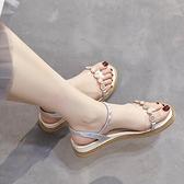 平底涼鞋女新款氣質仙女風夏季珍珠羅馬舒適百搭水鑚厚底楔形厚底 蘇菲小店