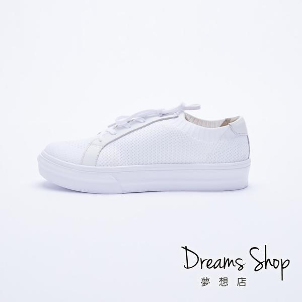 大尺碼女鞋-夢想店-MIT台灣製造街頭流行百搭綁帶輕量厚底小白鞋4cm(41-45)【JD701】白色
