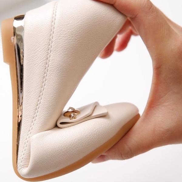 豆豆鞋 坡跟單鞋女2020春秋新款百搭圓頭淺口PU軟皮軟底內增高淑女豆豆鞋【快速出貨】