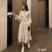 長袖洋裝 秋季2020新款溫柔風設計感荷葉邊V領中長款顯瘦長袖洋裝女 【快速出貨】
