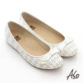 A.S.O 活力勁步 全真皮金屬釦飾壓紋平底休閒鞋-白