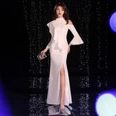 禮服洋裝 白色女新款白色長款洋裝小宴會主持人 - 紓困振興~~全館免運