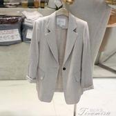 夏季新款韓國西服短款修身顯瘦休閒亞麻小西裝外套女棉麻薄款提拉米蘇