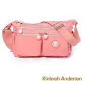 金安德森 DOTS 輕量率性雙口袋斜側背包 粉色