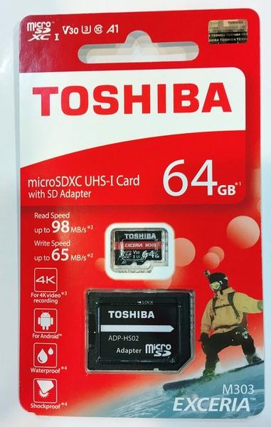 日本製 東芝 TOSHIBA microsd 64GB 98mb/s EXCERIA M303 U3 A1 V30 富基公司貨 保固5年