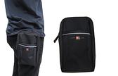 ~雪黛屋~OVER-LAND 腰包小容量外掛二層主袋可5.5寸手機防水尼龍布隨身包工作袋可穿過皮帶T5465