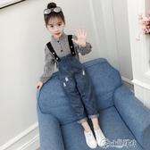 女童吊帶褲 女童秋裝套裝2019新款韓版時尚衣兒童春秋時髦洋氣吊帶褲兩件套
