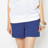 TOP GIRL 顯瘦剪接設計休閒短褲-藍