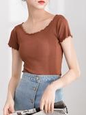 純色短款針織短袖t恤女2019新款夏裝體恤木耳邊修身高腰上衣百搭
