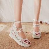 春夏新款老北京布鞋女中國風系帶古風漢服搭配素色民族風單鞋