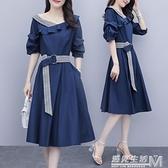 新款大碼女裝胖mm洋氣收腰遮肉顯瘦中長款中袖洋裝女