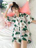 日式和服睡衣女夏棉質短袖正韓清新學生薄款家居服兩件套裝可外穿 年貨慶典 限時八折