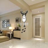 掛鐘 創意個性掛錶北歐鹿頭鐘錶掛鐘客廳現代簡約大氣餐廳時鐘靜音石英 卡菲婭