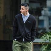 日系復古純色針織開衫男 秋季薄款青年修身V領毛衣外套 芥末原創
