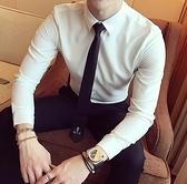 長袖襯衫-秋季韓版英倫男士潮流百搭長袖襯衫青年男裝時尚修身純色上班襯衣 現貨快出