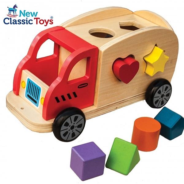 【荷蘭 New Classic Toys】寶寶木製幾何積木車 10564