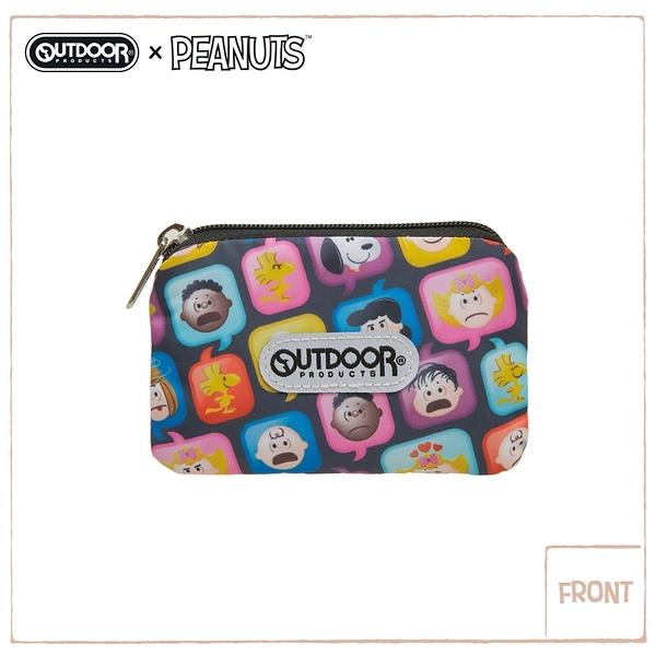 【OUTDOOR】SNOOPY聯名款emoji 卡片零錢包-黑 ODP21A05BK