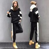 長袖褲裝 羊羔絨衛衣運動套裝女秋冬季新款時尚洋氣加厚加絨休閒兩件套