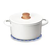 (組)琺瑯雙耳湯鍋20cm+自然風陶瓷鍋墊-花磚圓圈