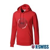 K-SWISS Sunshine Hoodie刷毛連帽上衣-男-經典紅