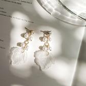 仙氣滿滿葉子珍珠名媛耳環韓國氣質個性森繫超仙網紅時尚女士耳釘