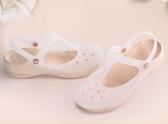 變色新款防滑厚底軟底中跟洞洞鞋女鞋沙灘