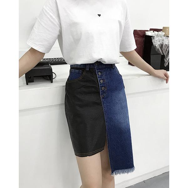 2020新款假皮拼接牛仔高腰開岔多口袋不對稱半身裙短裙 11942023