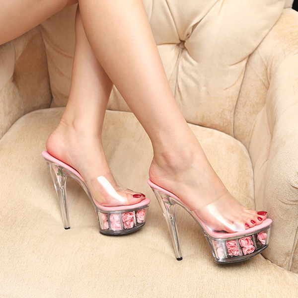 恨天高性感細跟女涼鞋15cm超高跟鞋防水台車展模特走秀夜店演出鞋:613160011