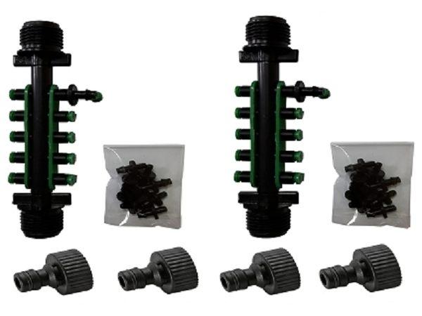 四分外牙轉兩分10孔接頭(含10個綠色塞頭)中段2組