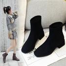 鞋子新款女網紅瘦瘦靴粗跟方頭短靴女冬季馬丁靴女英倫風 韓國時尚週