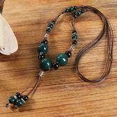 項錬 0058復古民族風個性裝飾配飾項錬吊墜女學生古風飾品墨綠雅韻 辛瑞拉