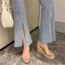 厚底拖鞋 坡跟涼拖鞋女夏外穿鬆糕麻繩厚底透明魚嘴鞋2021新款防水臺高跟鞋
