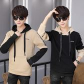 T恤 韓版 長袖連帽上衣 假兩件外套 M164【魔法QQ】預購