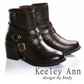 ★2016秋冬★Keeley Ann騎士風格~交叉雙皮帶飾釦真皮中跟短靴(咖啡色)