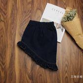 女童牛仔短裙秋冬新款荷葉邊不規則兒童半身裙包臀小公主親寶貝裝