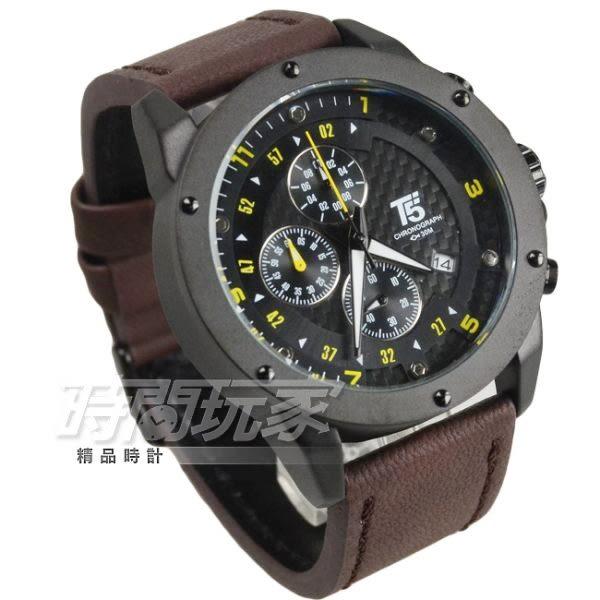 T5 sports time 真三眼大錶徑流行男錶 學生錶 防水手錶 皮革 IP黑電鍍x咖啡 H3516黑咖