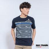 BIG TRAIN 鯉魚條紋圓領T-男-深藍
