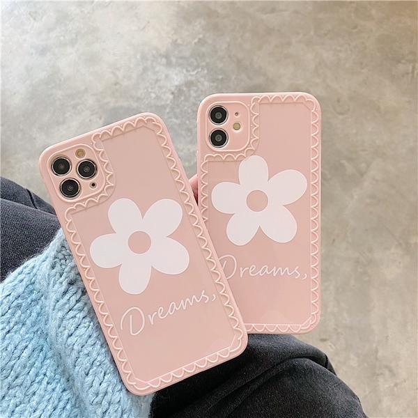 iPhone12 蘋果手機殼 預購 可掛繩 清新粉底白花 矽膠軟殼 i11/iX/i8/i7/SE