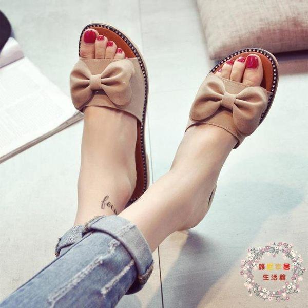 一件85折免運--拖鞋女夏時尚平底外穿正韓百搭個性防滑休閒平跟壹字型涼拖鞋