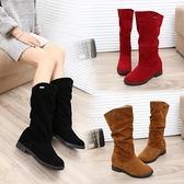 中筒靴 秋季新款女鞋磨砂圓頭高筒靴女平底靴子中長靴女靴中靴冬季潮 寶貝計畫
