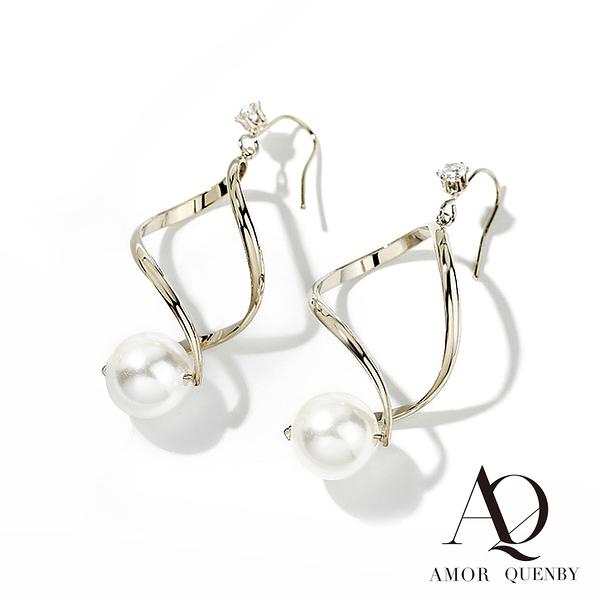 AQ 螺旋感珍珠垂墜耳環/耳針(AMOR Quenby)