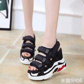 厚底涼鞋 新款休閑女坡跟防水臺松糕鞋超高跟增高厚底魔術貼透氣鞋