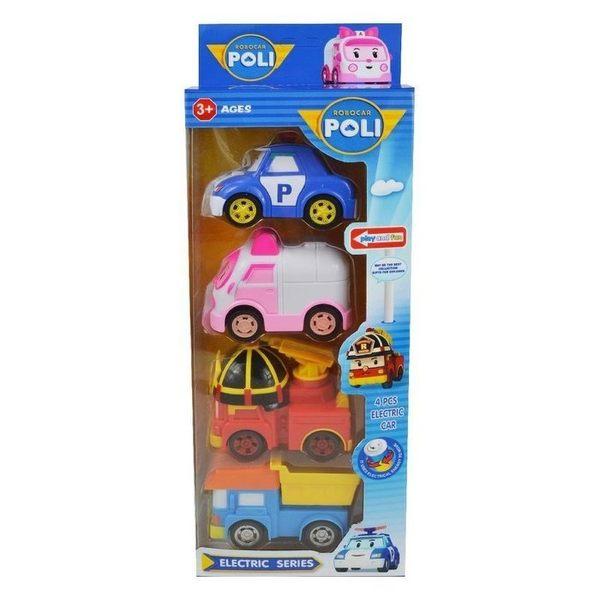 (現貨)*4入1組* POLI 救援小英雄 電動軌道車 波力 羅伊 赫利 安寶 車子玩具 小孩 生日 聖誕禮物